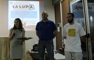 Vanesa Parmigiani, Fernando Santiago y Javier Rojo durante la presentación en Ushuaia